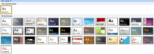 Галерея встроенных шаблонов PowerPoint 2010