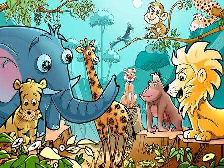 Дикие животные джунглей. Детский шаблон для презентаций