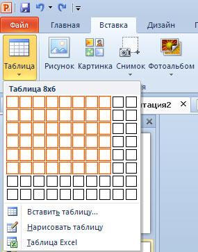 Втсавка таблицы в PowerPoint