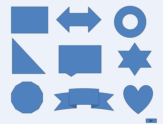 Примеры фигур на слайде PowerPoint